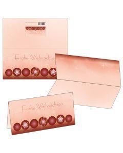 Klappkarten rote Christbaumkugeln mit Motiv-Briefumschlag