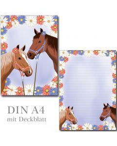Briefblock - zwei Pferde