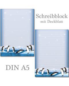 SONDERPOSTEN - nette Pinguine 1 Schreibblock  DIN A5 ca. 42 Blatt mit Deckblatt