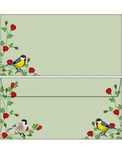 Briefumschläge rote Rosen und bunte Vögel