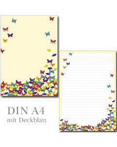 Schreibblock bunte Schmetterlinge DIN A4