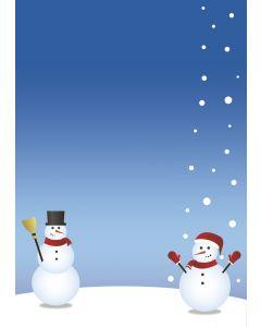 Briefpapier zwei nette Schneemänner