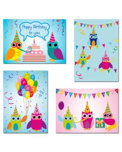 "8 Postkarten - Mix Eulen ""Happy Birthday"""