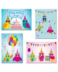 """8 Postkarten - Mix Eulen """"Happy Birthday"""""""