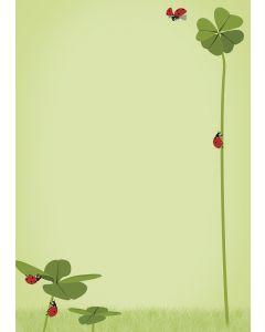 Briefpapier Symbole des Glücks - Klee und Marienkäfer