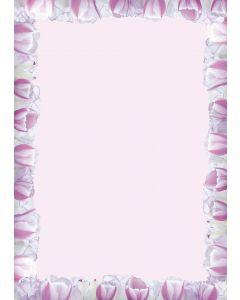 Briefpapier rosa Tulpen-Rahmen