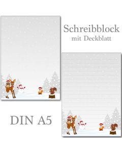 SONDERPOSTEN - Waldtiere / Winter 1 Schreibblock  DIN A5  ca. 47 Blatt mit Deckblatt
