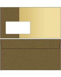 Briefumschläge braun / beige mit Punkten DIN lang