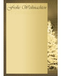Briefpapier Weihnachtsbaum Frohe Weihnachten braun-beige