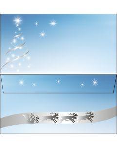 Briefumschläge Weihnachtsbaum silber-star