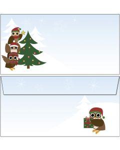 Briefumschläge Eulen am Weihnachtsbaum