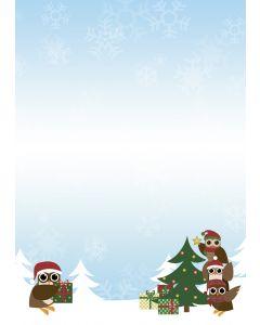 Briefpapier Eulen am Weihnachtsbaum