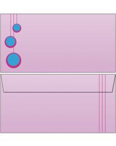 Briefumschläge PopArt pink/blaue Kugeln