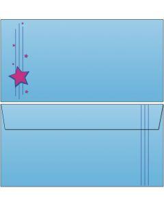 Briefumschläge PopArt pink/blaue Sterne