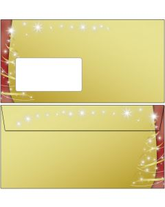 Briefumschläge Weihnachten schwarz rot gold mit Fenster