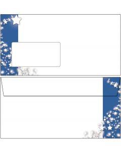 Briefumschläge Weihnachten Sterne im blauen Banner