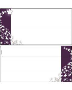 Briefumschläge Weihnachten Sterne im lila Banner