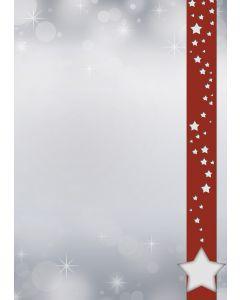 Briefpapier Weihnachtssterne im roten Banner