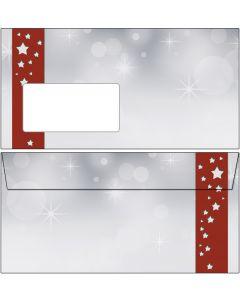 Briefumschläge Weihnachten Sterne im roten Banner