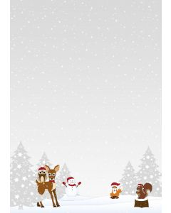 Briefpapier Waldtiere Weihnachten / Winter