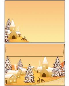 Briefumschläge C6 - Weihnachten Winterdorf
