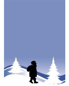 Briefpapier Weihnachtsmann in blauer Winterlandschaft