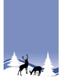 Briefpapier Hirsch und Reh in blauer Winterlandschaft