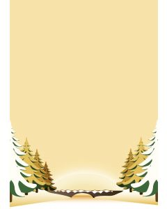 Briefpapier gelbe Winterlandschaft