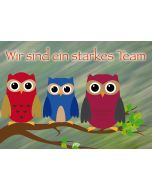 """Postkarte Eulen """"Wir sind ein starkes Team"""""""