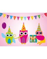 """Postkarte drei Eulen """"Happy Birthday"""" mit Geschenk"""