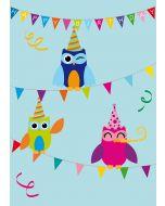 """Postkarte drei Eulen """"Happy Birthday"""" auf Girlande"""