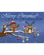 Postkarte Eulen auf Ast mit Weihnachtskugeln