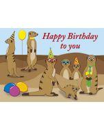 """Postkarte nette Erdmännchen """"Happy Birthday to you"""""""
