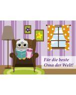 """Postkarte """"Für die beste Oma der Welt"""" - Eule"""