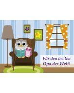"""Postkarte """"Für den besten Opa der Welt"""" - Eule"""