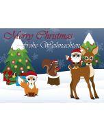 Postkarte weihnachtliche Waldtiere