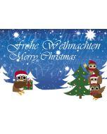 Postkarte Eulen am Weihnachtsbaum