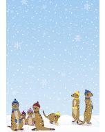 Briefpapier witzige Erdmännchen im Winter
