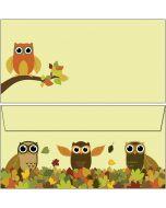 Briefumschläge Eulen im bunten Herbstlaub