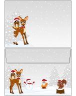Briefumschläge C6 - Weihnachten Waldtiere
